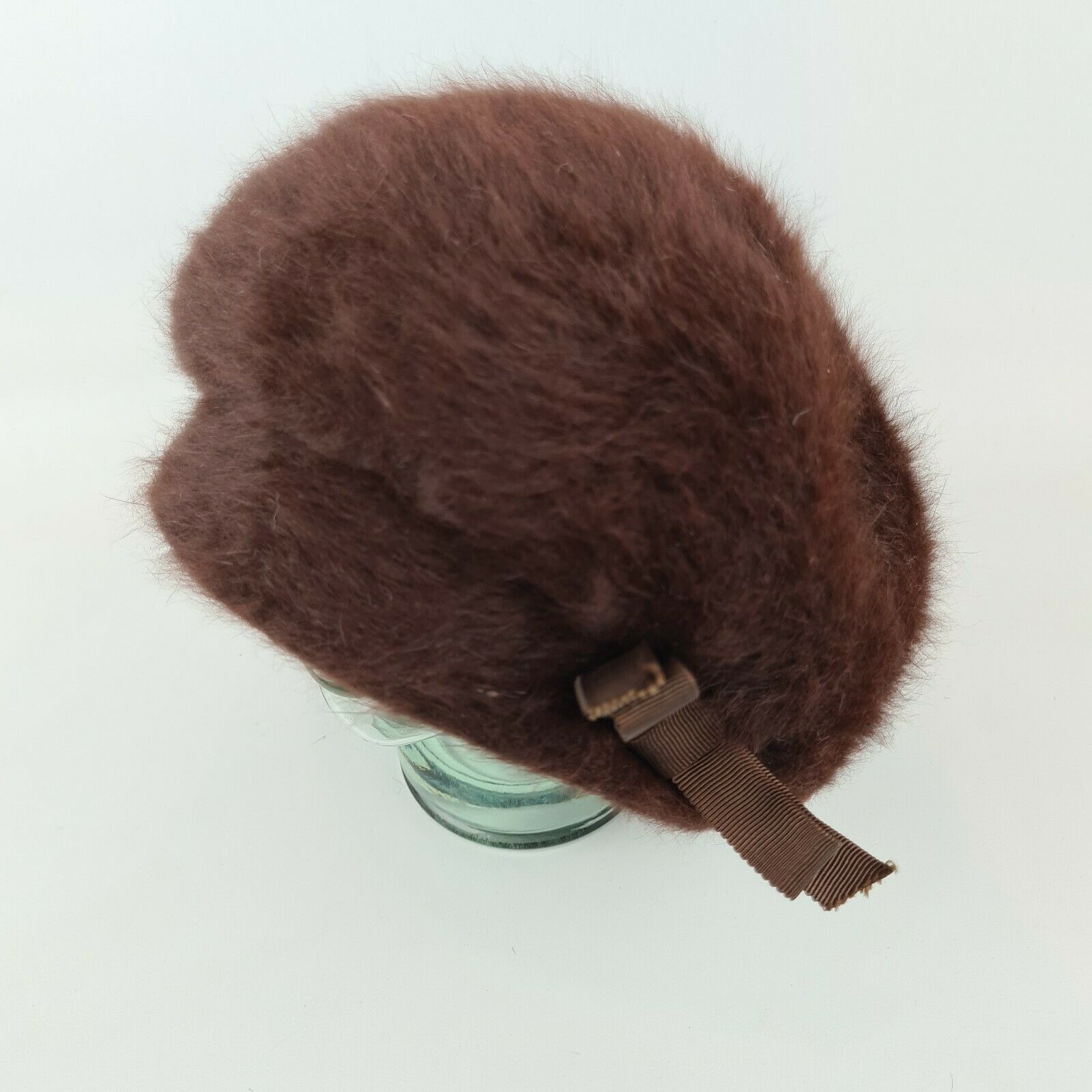 Vintage Kangol Diseño Pastillero Sombrero Angora Piel Marrón Oscuro Made In England 52cm