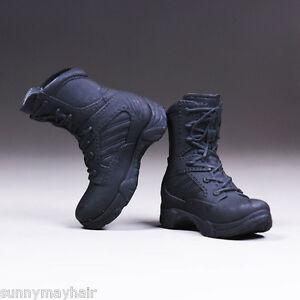 1//6 scale classic black work boots HOLLOW for 12/'/' Female Figure Body Doll