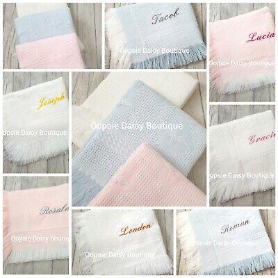Diamond Design Christening Shawl ⭐ ⭐ Personalised Baby Shawl Blanket