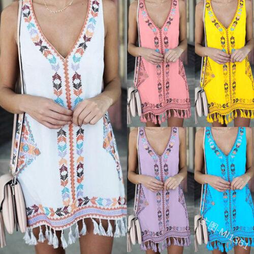 Women Loose A Line Tassel V-Neck Sleeveless Short Dress Plus Size Beach Tops