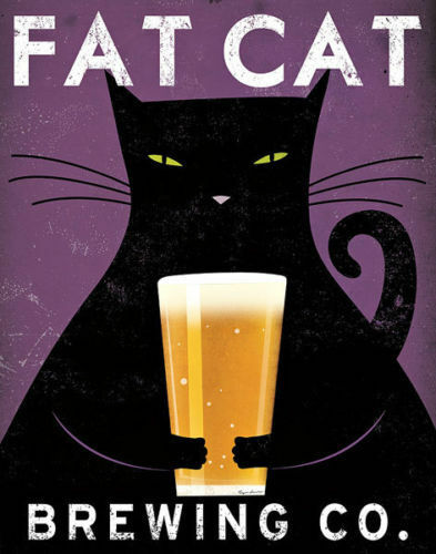 Fat Cat Brewing Co by Ryan Fowler Vintage Ads Cat Beer Print 11x14