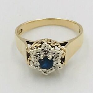 Vintage-9ct-Yellow-Gold-Sapphire-amp-Diamond-Flower-Shaped-Ring-Sz-P-516