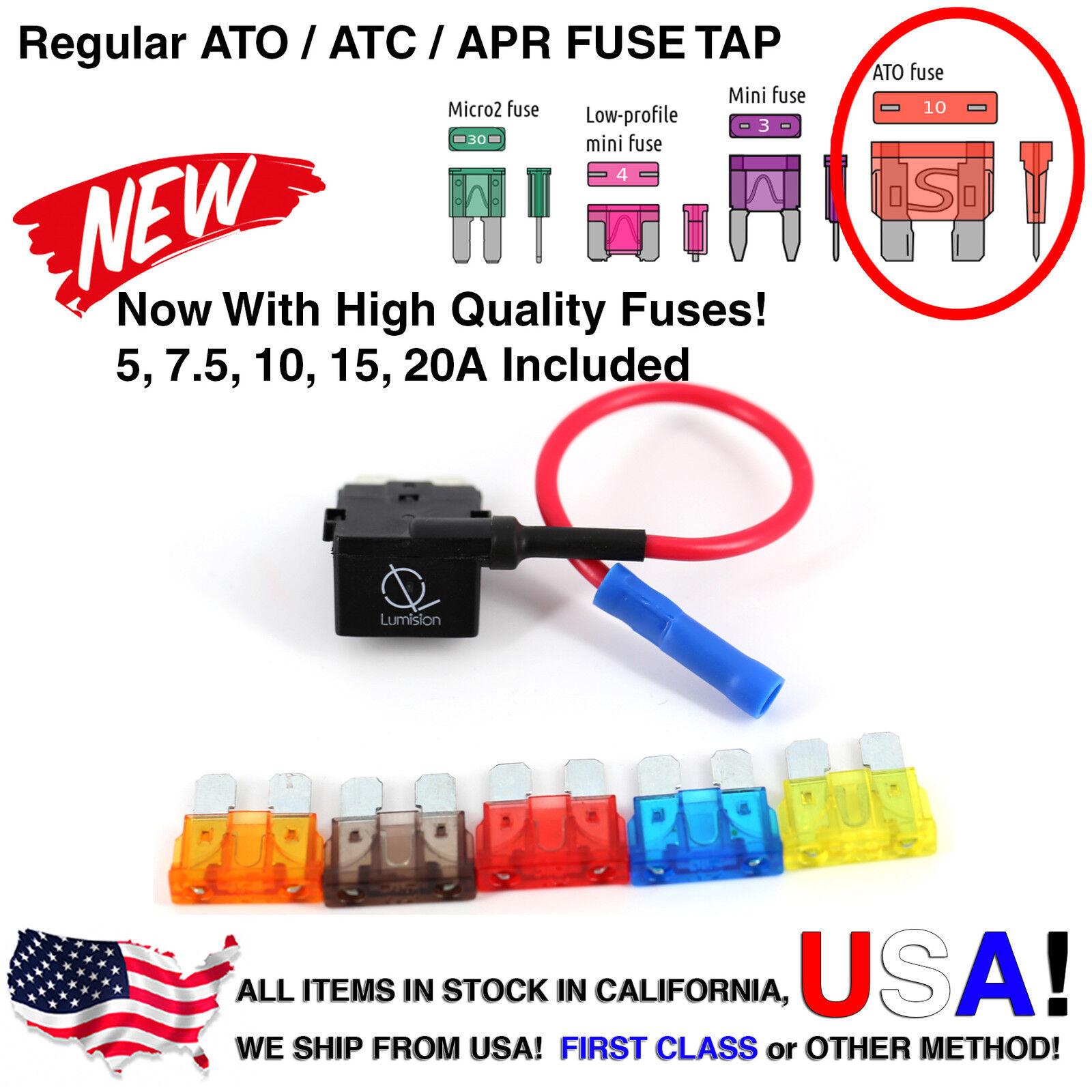 50 Pack Regular ATO ATC APR Add-A-Circuit Lumision Fuse Tap Lot Dash Cam Radar