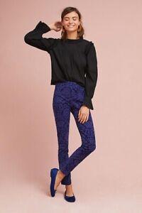 Anthropologie-Womens-Sz-10-Essential-Skinny-Side-Zip-Ankle-Pants-in-Blue-Brocade