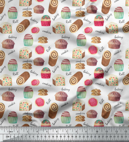 Soimoi Fabric Text /& Cupcakes Food Print Fabric by the Meter-FD-536J