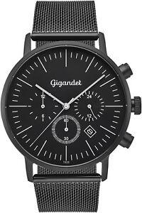 Gigandet Quarz Herren-Armbanduhr Minimalism III Dualzeit Schwarz G22-007