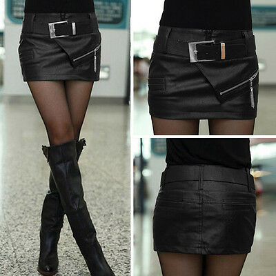Women Sexy Evening Party Cocktail Leather PU Bodycon Belt Black Mini Skirt Short