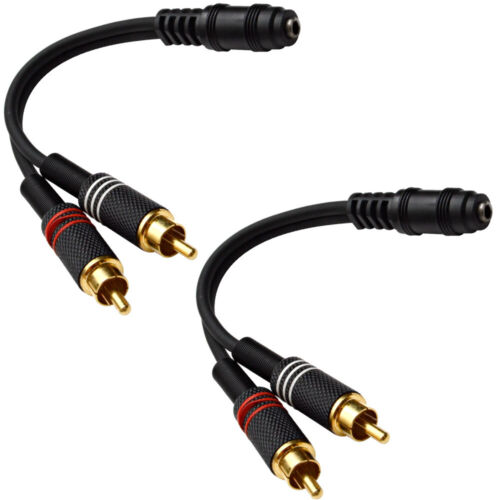 "For iPhone iPod etc Laptop Pair Female 1//8/"" 3.5mm to Male RCA Patch Cable"