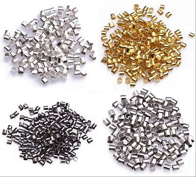 500//2000 Pcs 5Color Charm Alloy Tube Crimp Spacer Beads DIY Crafts 1.5mm//2mm