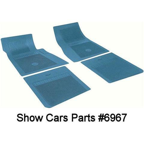 59,60 CHEVY ORIGINAL TYPE IMPALA  RUBBER  BEL AIR FLOOR MATS  BLUE 4 Piece SET