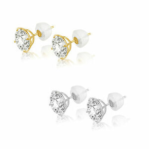 14k-Solid-White-or-Yellow-Gold-Cubic-Zirconia-Stud-Earrings-Basket-Set-CZ