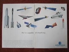 1992 PUB AEROSPATIALE ESPACE DEFENSE HERMES MSBS ARIANE HUYGENS SATELLITE AD