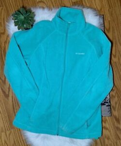 Columbia-Teal-Long-Sleeve-Fleece-Zip-Up-Jacket-Size-Large
