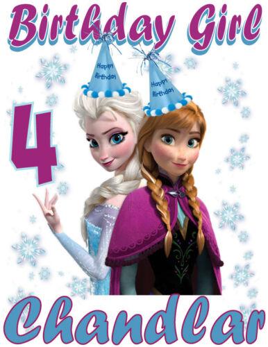 Custom Personalized Frozen Anna and Elsa Style B Birthday T-Shirt