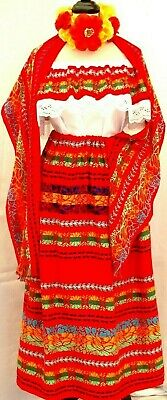 5 de Mayo Mexican Red Maxi Dress 3pc tricolor Embroidery Blouse//Skirt//Shawl 2X