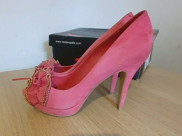 UK Size 5.5 (EU 39) Modena In Pelle Pink High Heeled Shoes