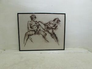 Framed Peter Collins Unsigned Nude Lying Pose Sketch Drawing..