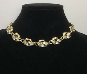 Vintage-Necklace-Gold-Tone-Chunky-Links-Blue-Clear-Glass-Crystals-Collar-Length