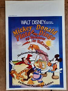 Plakat Belgischer Mickey Donald Pluto Goofy Aus Urlaub IN Vakantie Walt Disney