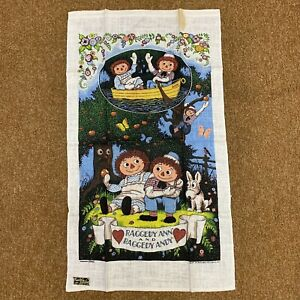 Kay-Dee-Hand-Prints-Raggedy-Ann-and-Andy-Cloth-100-Pure-Linen