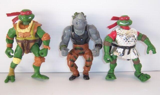 Teenage Mutant Ninja Turtles Action Figures - Raphael (x2) & Rocksteady (x1)