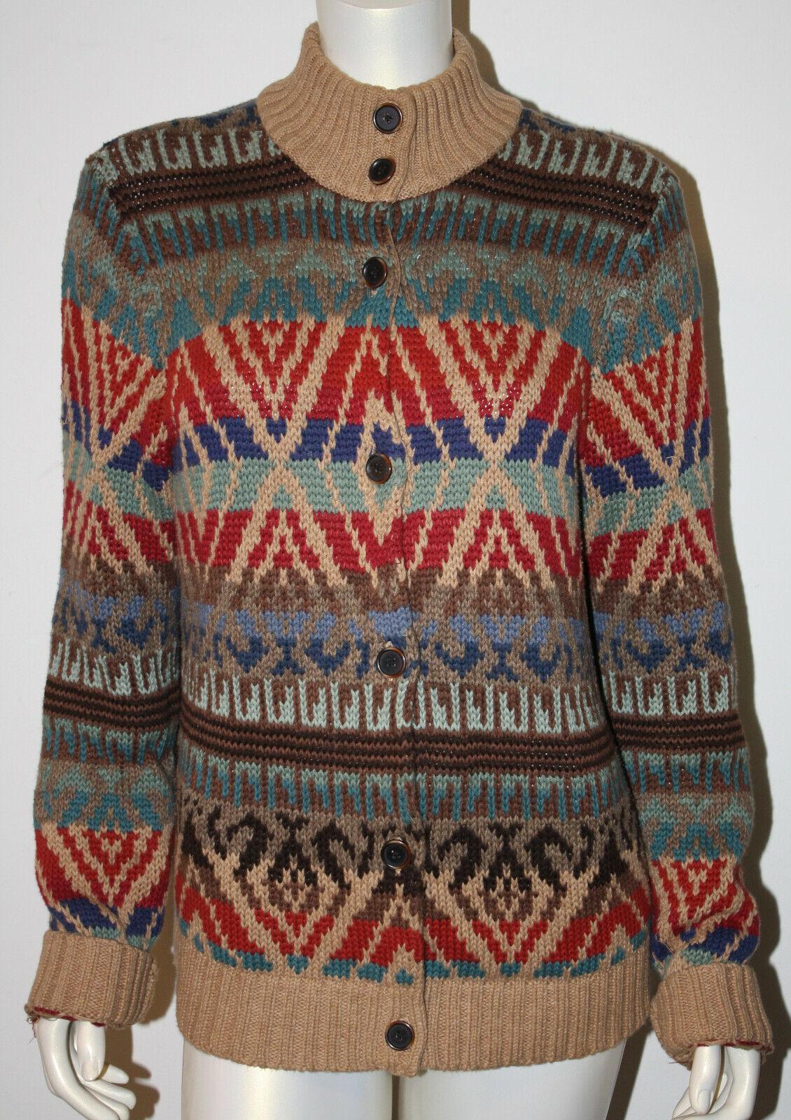 RALPH LAUREN Indian Blanket Cardigan Sweater XL Tan Brown bluee Red