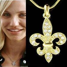 Gold Pl w Swarovski Crystal ~Fleur de lis Paris France Iris Lily Flower Necklace