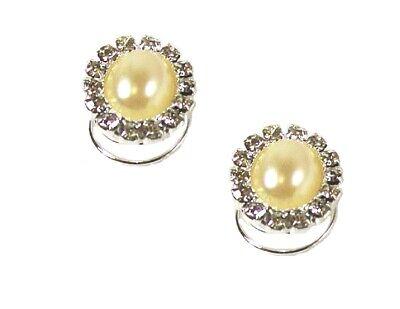 Argento Cristallo Diamante Perla Ovale Spirali Sposa Accessori Per Capelli Pin-mostra Il Titolo Originale