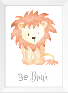 Image Is Loading Be Brave Lion Nursery Wall Art Print Watercolour