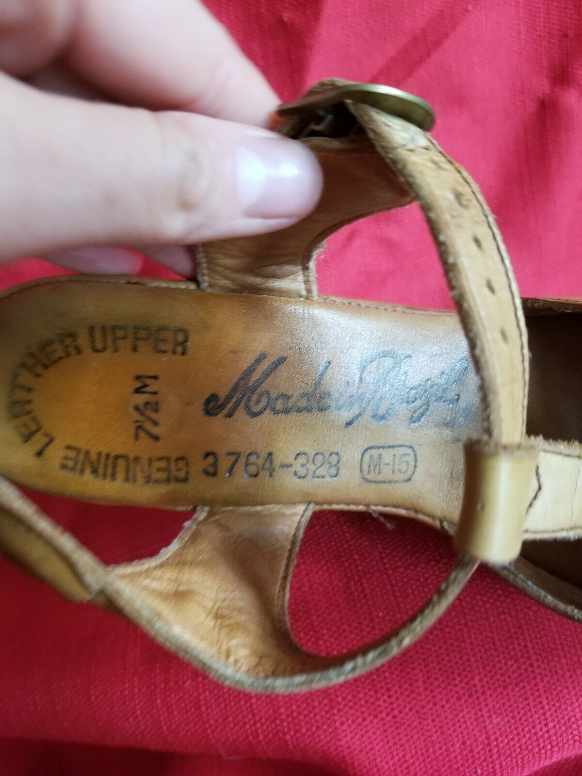 Vtg 1970s does 40s Leather Wedge Sandals Size 7.5… - image 9