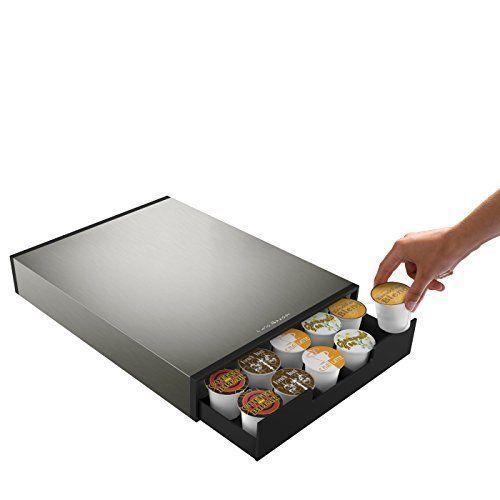 "NEW NIB  Mind Reader /""Tinny/"" 35 Capacity Metal Coffee Pod Drawer  Silver//Black"