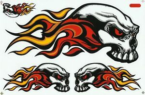 PLANCHE-A4-TUNING-5-AUTOCOLLANT-STICKER-TRIBAL-SKULL-FIRE-ROUGE-26-5-X-17-5-CM