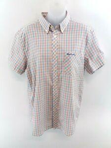 Camicia-da-Uomo-Ben-Sherman-Manica-Corta-M-Medium-Bianco-Rosso-Blu-a-Quadri-Misto-Cotone