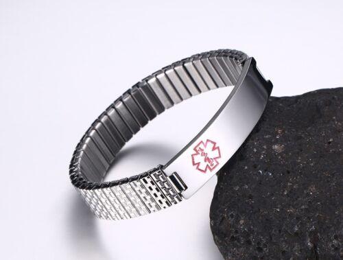Stretch printemps femmes Medical Alert Bracelet ID Bracelet Personnalisé Gravure