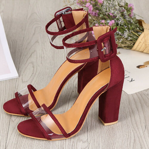 Women High Heels Chunky Block Lace Up Gladiator Ankle Strap Sandals Shoes Party