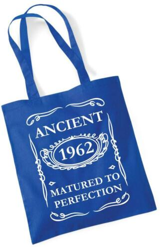 57th Birthday Gift Tote Shopping Cotton Bag Ancient 1962 Matured To Perfection
