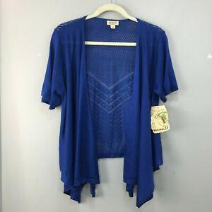 One-World-Womens-Sweater-Size-L-Dark-Blue-Open-Weave-Open-Front-Cardigan-NWT