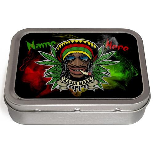 Personalised 2oz Tobacco Tin RASTA WEED SPLIFF Smoking Baccy Storage Gift SH205
