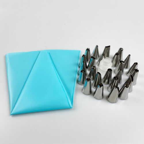 Silicone Icing Piping Cream Pastry Bag 24Nozzle Set Cake Decorating Baking Tools