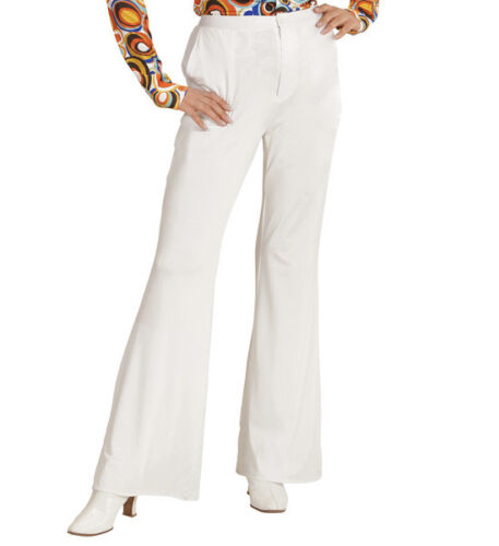 Womens White Trousers 70S Flares Fancy Dress Costume 1970S Disco Outfit