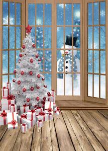 5X7FT Window Snowman XMAS Tree Vinyl Studio Backdrop CP Photography Background
