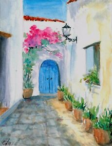 034-Home-Coming-034-ORIGINAL-signed-watercolor-painting-Europe-travel-Greece-village