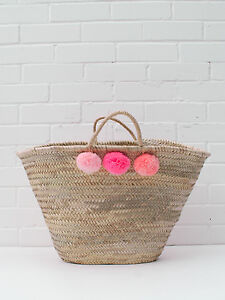 Large French Moroccan Pink Shopper Bag Beach Ombre Tote Market Pom Basket rxr1Tn