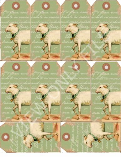 189 10 Vintage Sheep Hang Tags Scrapbooking Paper Crafts