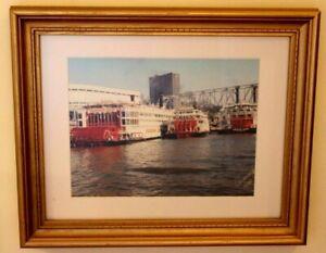 Original-Art-Photograph-of-Riverboats-on-Cincinnati-River-Signed-Custom-Framed