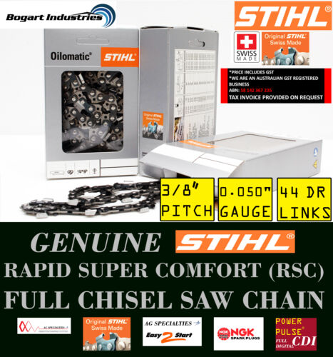 "GENUINE STIHL SAW CHAIN, RAPID SUPER COMFORT RSC, 38"" PITCH, 0.05"" GAUGE, 44DL"