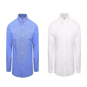 025677b84 Mens Long Sleeved Oxford Shirt Button Down Collar Casual Slim Fit ...