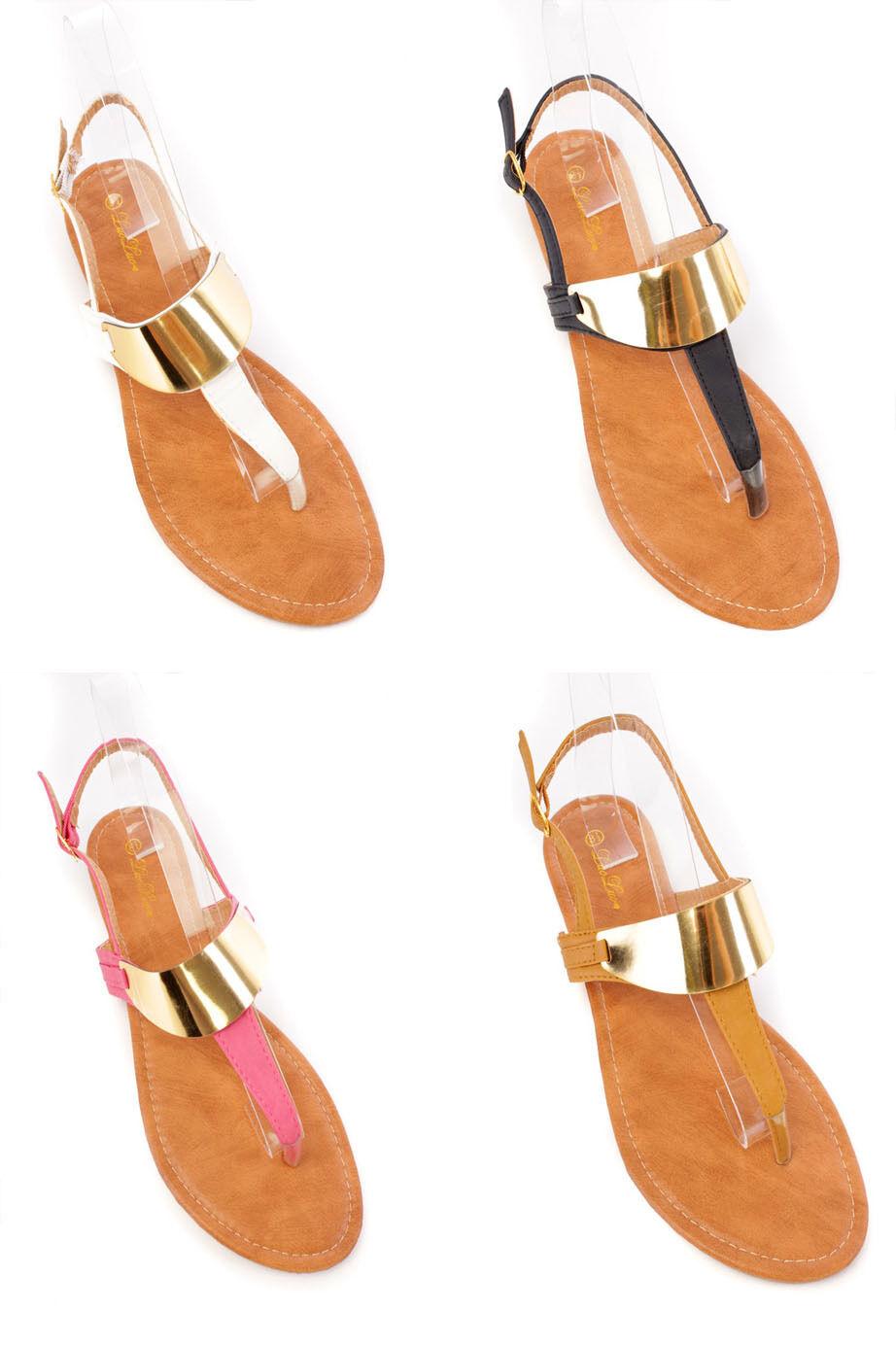 Lot High Polish Metal Strap Detail Beaded Faux Leder Sandales Fashion Schuhes