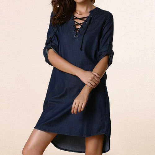 UK 8-24 Women Casual V Neck Denim Look Lace-up Tunic Tops Shirt Mini Dress Plus