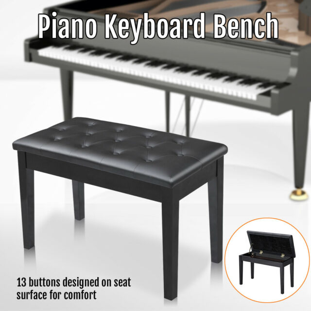 Outstanding Wooden Padded Piano Bench Stool Keyboard Seat Chair With Music Storage Black Frankydiablos Diy Chair Ideas Frankydiabloscom